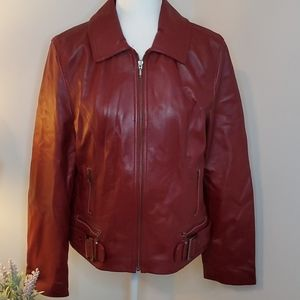 100% Leather Maroon/Red Jacket